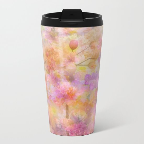 Sophisticated Painterly Floral Abstract Metal Travel Mug