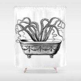 Tentacles in the Tub | Octopus in Bath | Vintage Octopus | Black and White | Shower Curtain