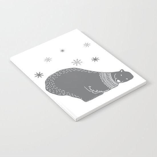 Merry christmas- Polar bear - Animal Watercolor Illustration Notebook