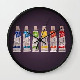 watercolor tubes Wall Clock
