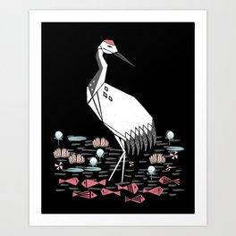 Crane bird art printmaking screenprint giclee by andrea lauren Art Print