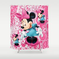 minnie mouse Shower Curtains featuring Minnie Mouse Cartoon by Maxvision