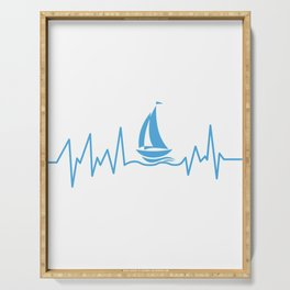 Heartbeat Boating Funny Boat Lover Dad Gift Serving Tray