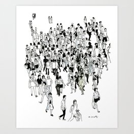 Shibuya Street Crossing Crowd Art Print