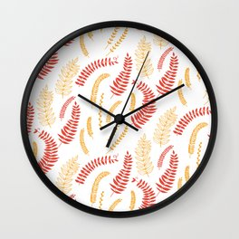 Leaves pattern in red and yellow Wall Clock