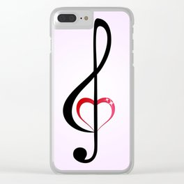 Heart music clef Clear iPhone Case