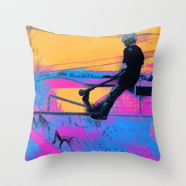 On Edge -  Stunt Scooter Artwork Throw Pillow