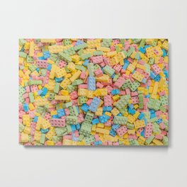 Candy Building Blocks, Multicolored Pastel Pattern Metal Print