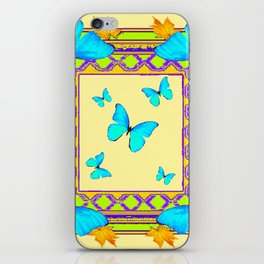 Decorative Cream & Turquoise Butterfly Art iPhone Skin