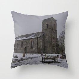 Dunkirk Church In Winter Throw Pillow