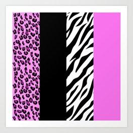 Animal Print, Zebra Stripes, Leopard Spots - Pink Art Print