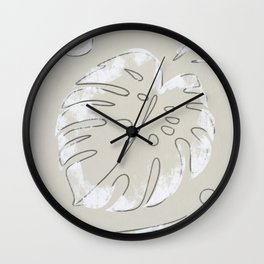 Snowy leafs Wall Clock