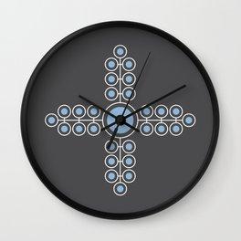 Minimalist Flowers Cross Pattern, Powder Blue, Charcoal Black) Wall Clock