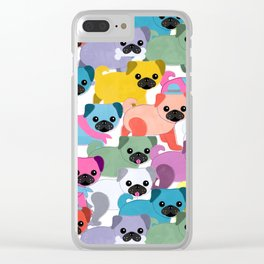Colored Pugs Pattern - no1 Clear iPhone Case