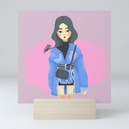 Cute Korean Street Fashion Denim Illustration Mini Art Print