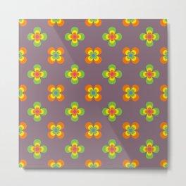 Flower Child Groovy Retro Floral Seamless Pattern Metal Print