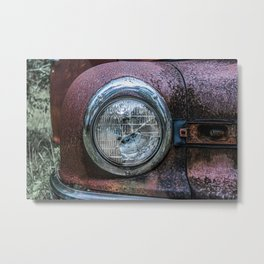 Rusting Car Headlight Closeup Detail Broken Glass Metal Print
