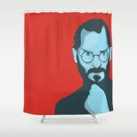 steve jobs Shower Curtains featuring Steve Jobs Portrait by KaytiDesigns