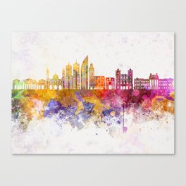 Montevideo skyline in watercolor background Canvas Print