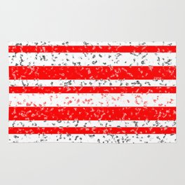 Red and White Stripe Patchy Marble Pattern Rug