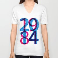 1984 V-neck T-shirts featuring Orwell 1984 - 2014 by Ned & Ems
