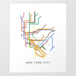Minimalist New York City NYC Metro Map Art Print