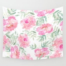 Watercolor Peonie with greenery Wall Tapestry