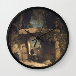 Jules Laurens - At the Gate of a Town in Asia Minor Wall Clock