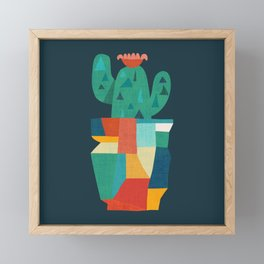 Blooming cactus in cracked pot Framed Mini Art Print