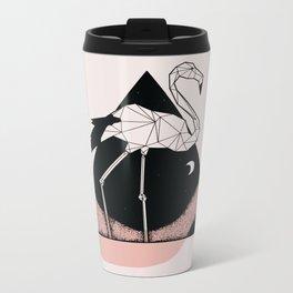 Flamingo in straight lines Metal Travel Mug