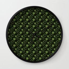 Elegant classy delicate distressed light blooming rose flowers seamless pattern design. Feminine Wall Clock