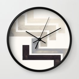 Grey Aztec Pattern Mid-century Modern Simple Geometric Pattern Watercolor Minimalist Art Squares Wall Clock