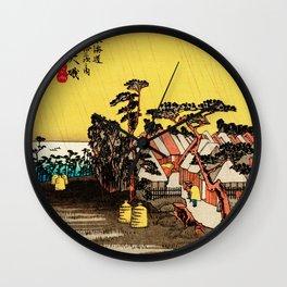 Rain Storm at Oiso Japan - Woodblock Wall Clock