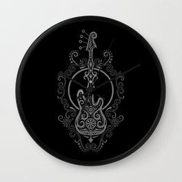 Intricate Gray and Black Bass Guitar Design Wall Clock