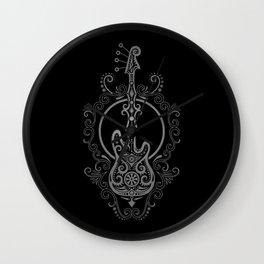 Intricate Gray and Black Bass Guitar Design Wall Clock