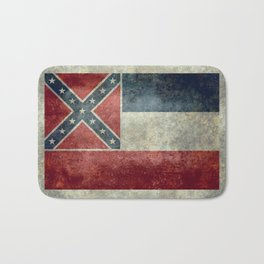 Mississippi State Flag in Distressed Grunge Bath Mat