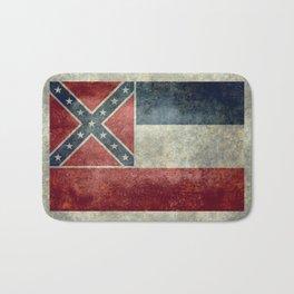 Mississippi State Flag in Distressed Grunge Bath Mat