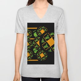 Orange and Green Spaces 100 Unisex V-Neck