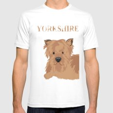 Yorkshire Terrier Dog Yorkie White MEDIUM Mens Fitted Tee
