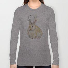 Watercolor Grumpy Jackalope Antler Bunny Long Sleeve T-shirt