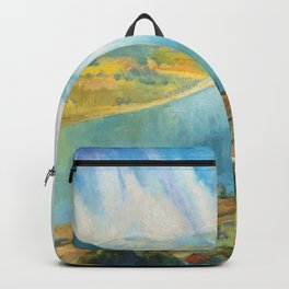 Sunlight on the Danube River landscape painting by Istvan Szonyi Backpack