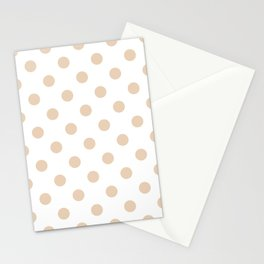 Polka Dots - Pastel Brown on White Stationery Cards