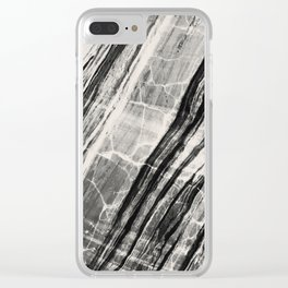 Abstract Marble - Black & Cream Clear iPhone Case