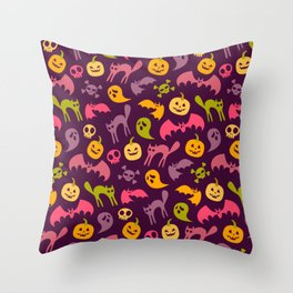 Neon Halloween Pattern - Purple Background Throw Pillow
