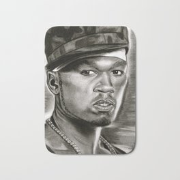 50 Cent in Black and White Bath Mat