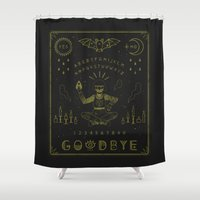 witchcraft Shower Curtains featuring Ouija Board by LordofMasks