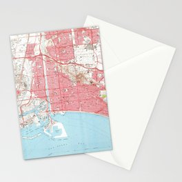 Vintage Map of Long Beach California (1964) 4 Stationery Cards