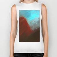 free shipping Biker Tanks featuring Mountains in blue by Ordiraptus