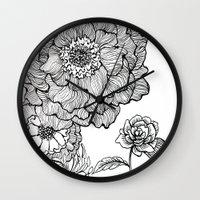 alisa burke Wall Clocks featuring flower line drawing by Alisa Burke