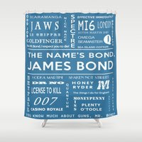 james bond Shower Curtains featuring Bond Blue by Candace Fowler Ink&Co.
